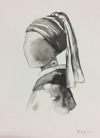 """Reminiscences de Vermeer"", 24X30, encre de chine"