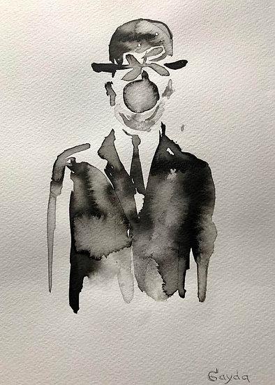"""""""Reminiscences de Magritte"""",24X30, encre de chine"""