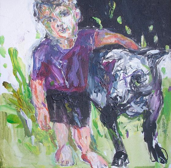 """""""Enfant et le chien"""" 30x30"""