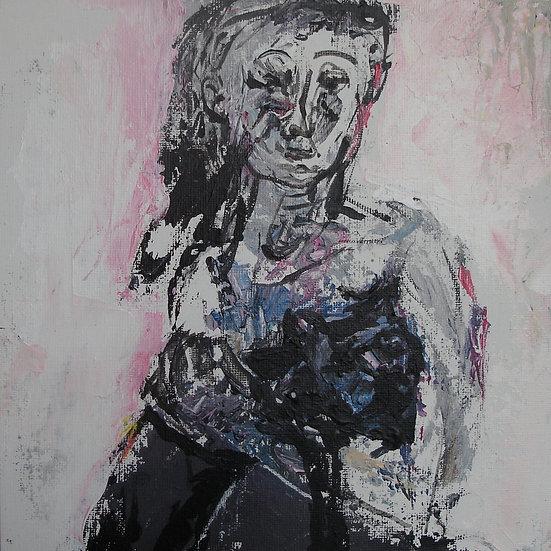 """""""La fille et le chat"""" 25х25"""