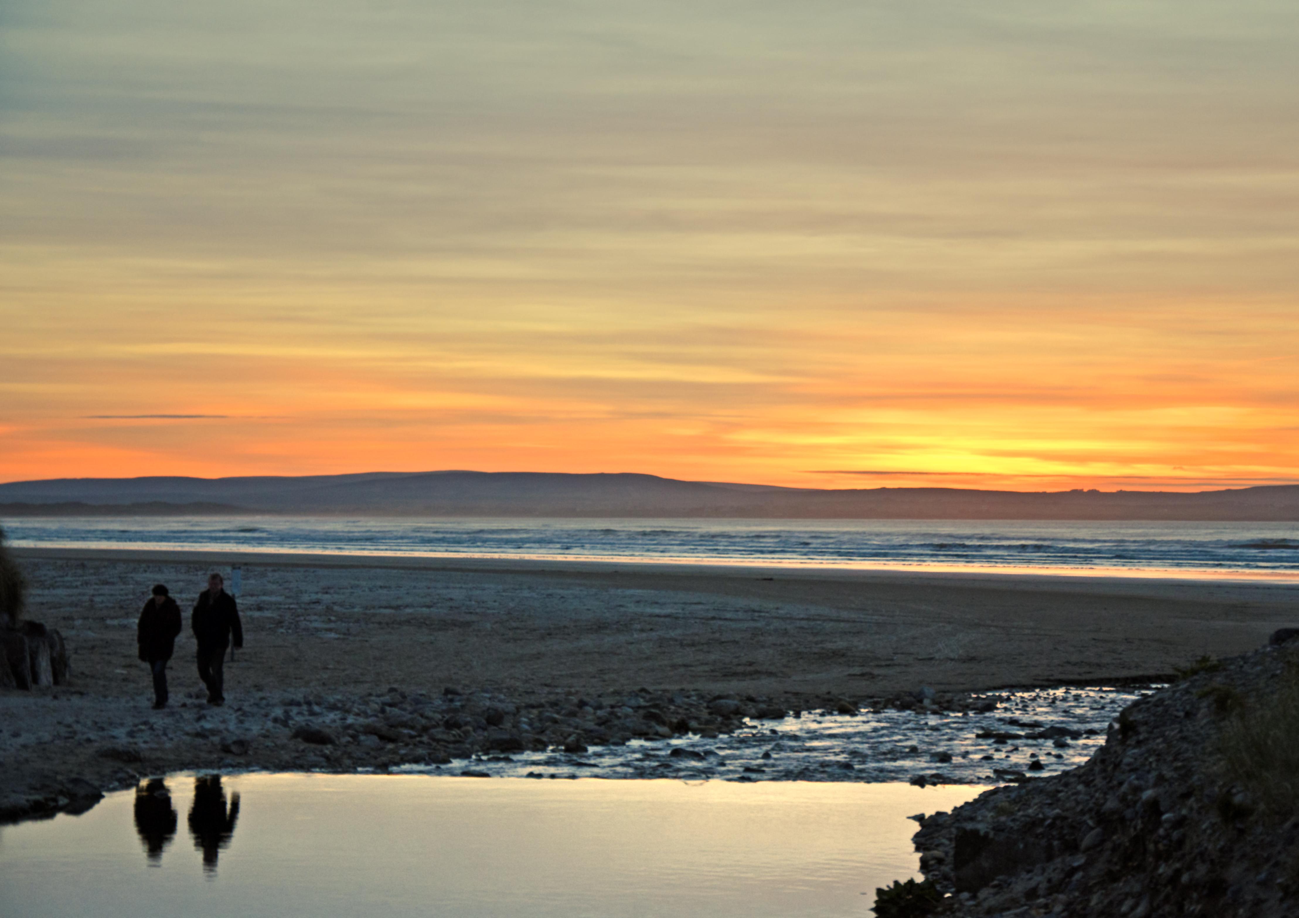 Enniscrone walkers sunset