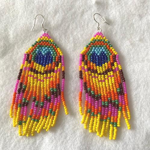 Colorful Feather Huichol Bead Earrings
