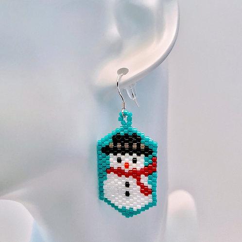 Snowman & Santa Badge Earring