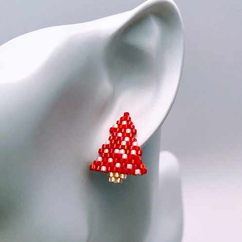 Red & White Christmas Tree Studs