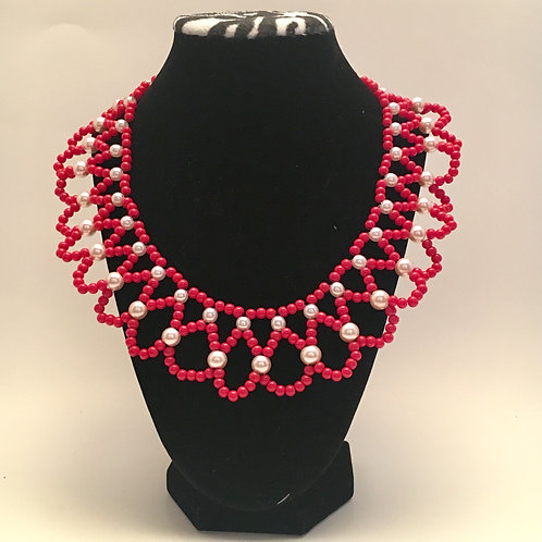 Red Pearl Collar Necklace