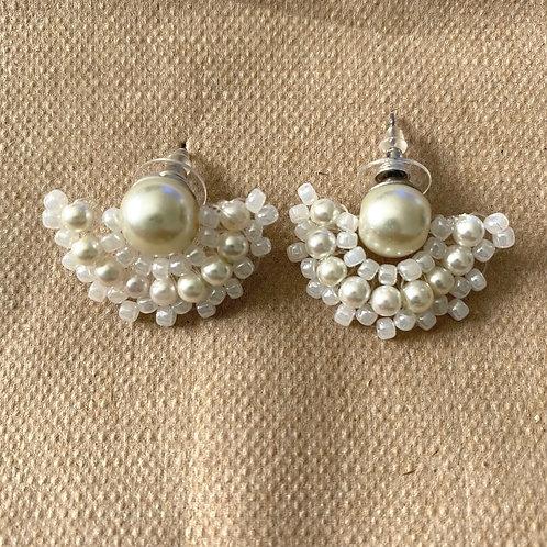 Mini Fan Pearl Earrings