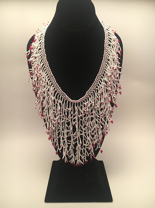 White/Red or White/Green Branches Necklace