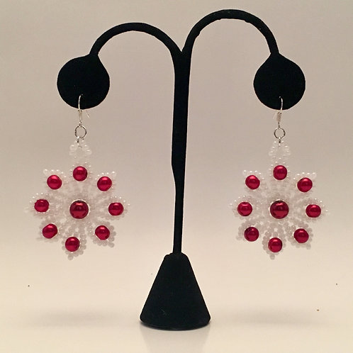 White w/ Red Pearls Earrings