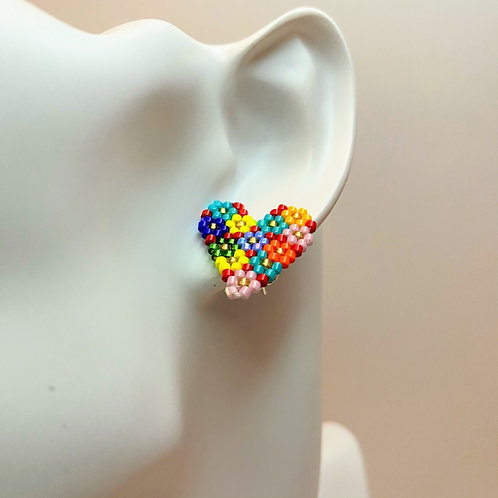 Flower Heart Stud Earrings
