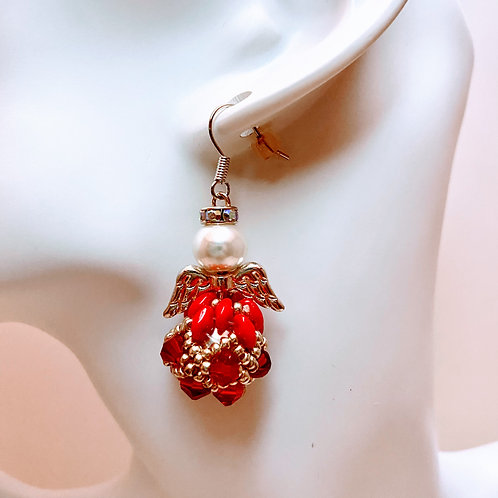 Red Super Duo Angel Earrings