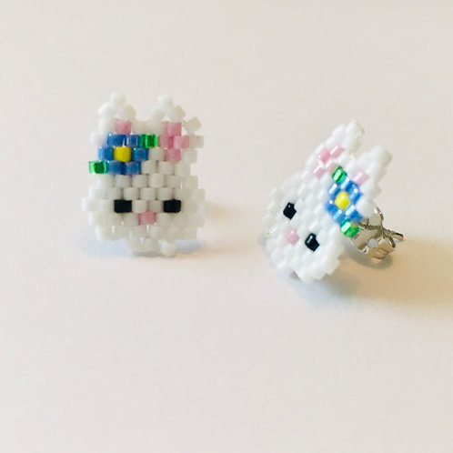Bunny with Flower Stud Earrings