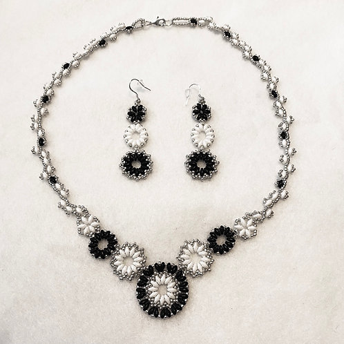 Black & White Superduo Necklace/Earrings Set