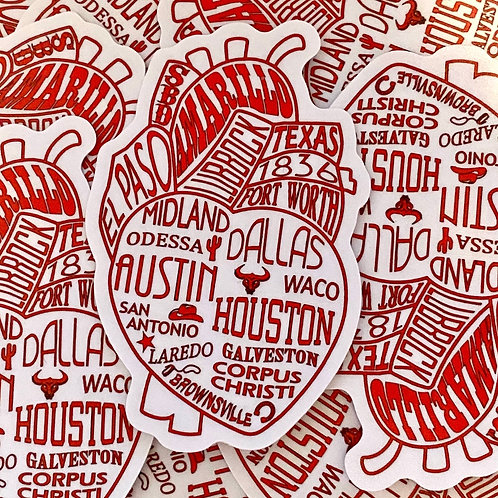 Texas in my Heart Sticker