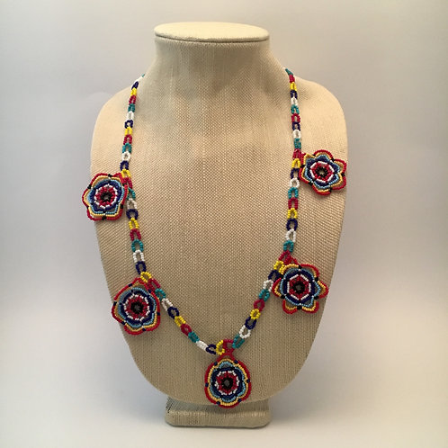 Five Colorul Flowers Necklace