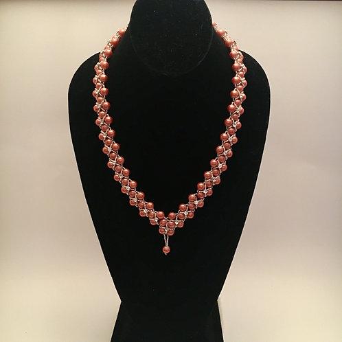 Bronze Pearl Set (Necklace/Earrings)