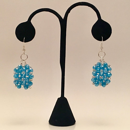 Blue & Silver Bead Earrings