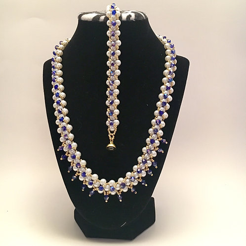 White Pearl/ Blue Bead Necklace/Bracelet Set