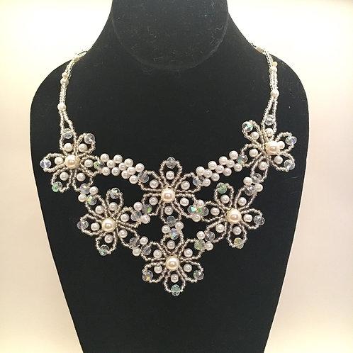 Flower Pearl Necklace/Earrings Set