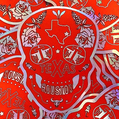 Houston Sugar Skull Holographic Sticker