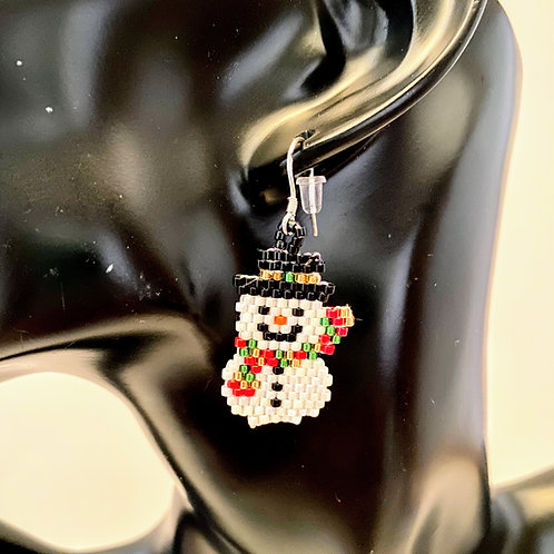 Snowman & Santa Beaded Earrings