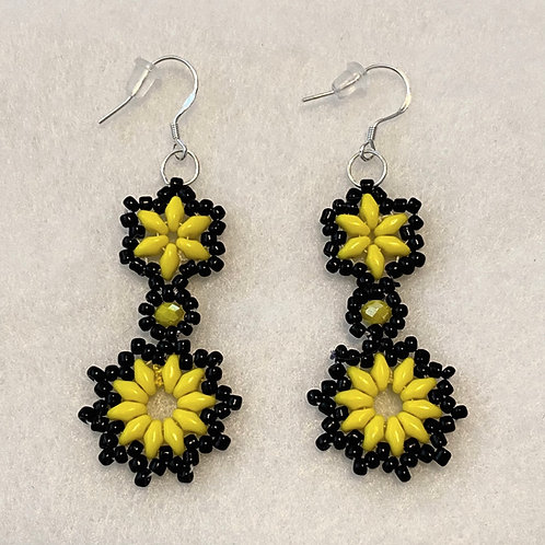 Yellow/Black Superduo Earrings