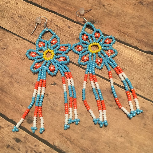 Sky Blue Flower Earrings