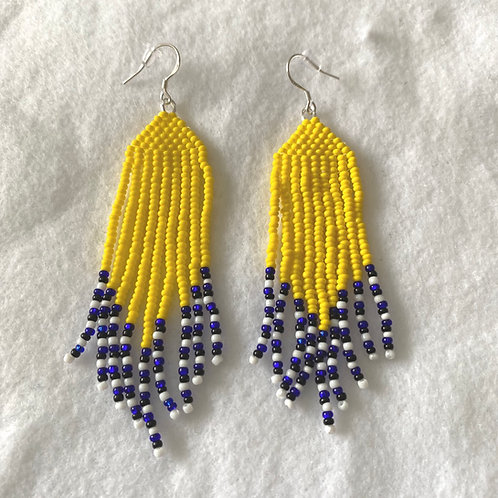 Yellow Dangle Bead Earrings