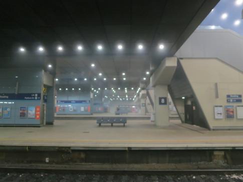 Reading Station, misty night
