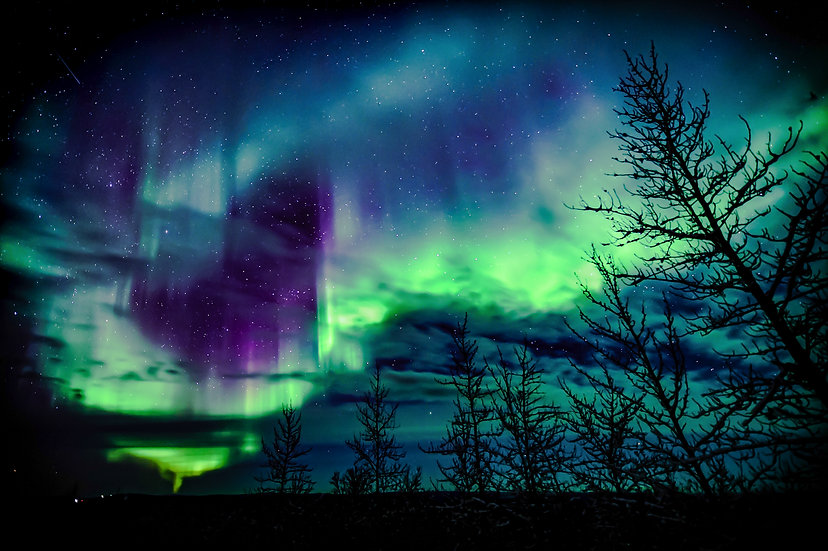 Northern Lights with black clouds