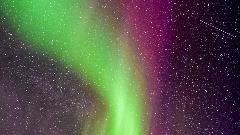 Car light and Northern Lights