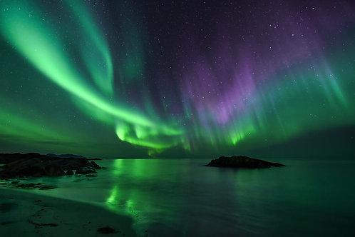 Nordlys over ei strand - Veggfoto