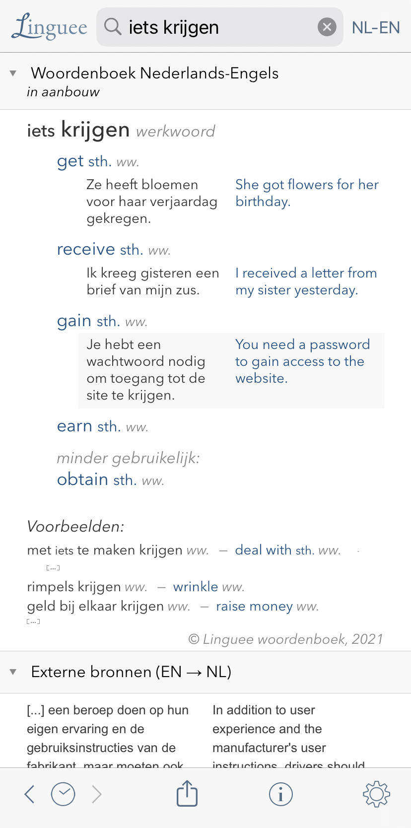 Linguee example