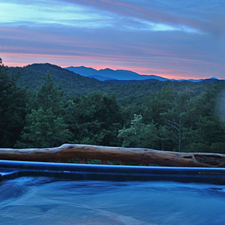 Enjoy a private hot tub at every log cabin at High Rock