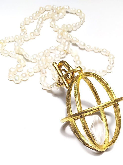 Collar Gabbia perla