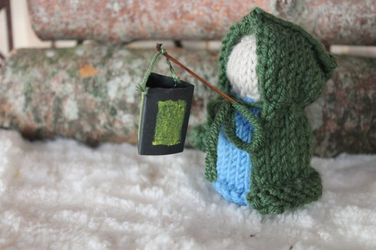 Knitted gnome and lantern