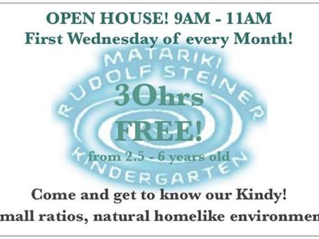 First Wednesday of every month = Open house - next being 6th September