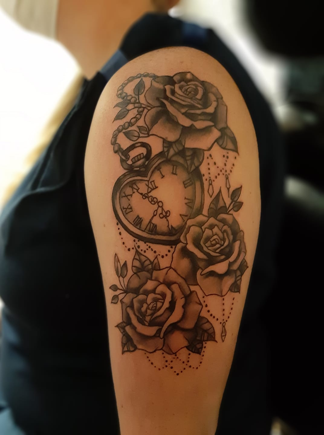Timepiece and roses