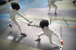 Junior Boys at fencing tournament, wide