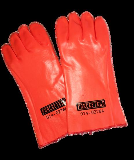 Orange long cuff PVC foam lined waterproof gloves