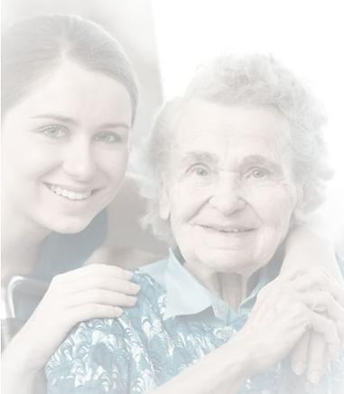 Mujer joven con la abuela