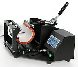 Foto con vista lateral de prensa Modelo TZ1 manual para transfer de tazas publicitarias