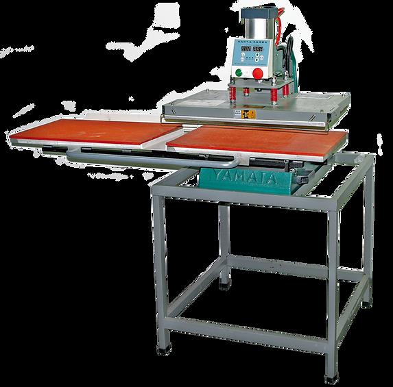 foto de prensa térmica Modelo T 460 para transfer de camisetas en plano con 2 mesas sincronizadas