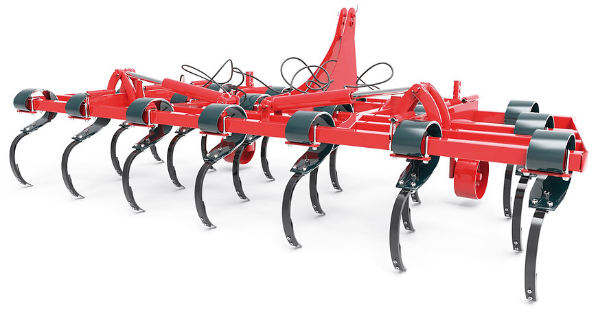Vibro cultivador con brazo tipo vibro de 150x12 mm / 45x20 mm en tres hileras