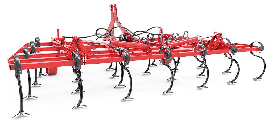 Vibro cultivador con brazo tipo vibro-flexible de 45x12 mm  (con refuerzo interior) en cuatro hileras
