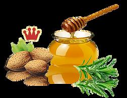 almendras marcona y tarro de miel de romero