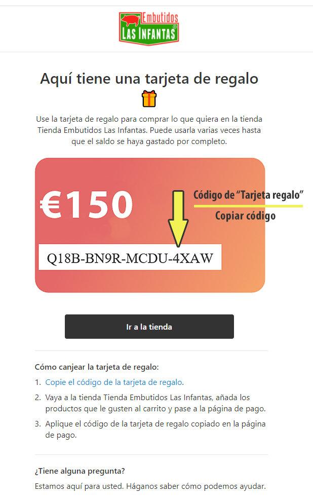 tarjeta regalo con código e importe de 150€