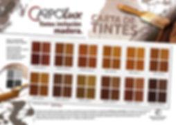 página de catálogo de tintes para madera