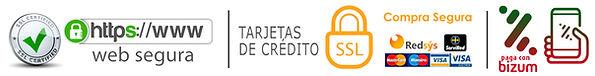 franja con iconos de formas de pago y web segura