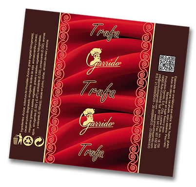 etiqueta de trufas de chocolate garrido