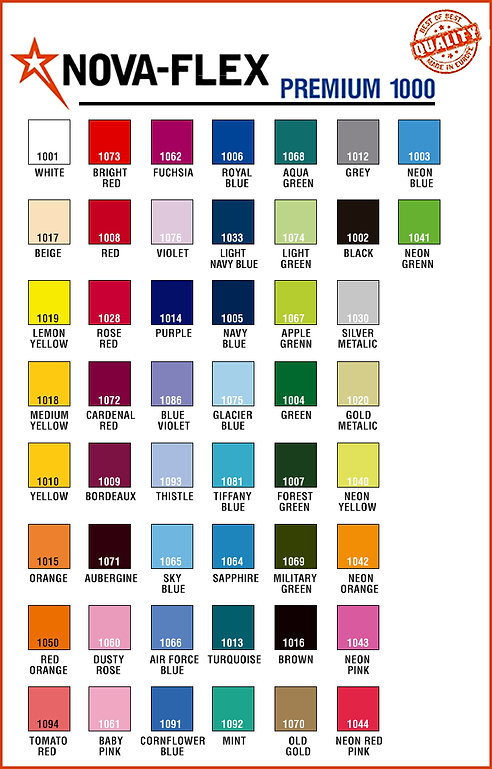 imagen de carta de colores marca NOVA-Flex